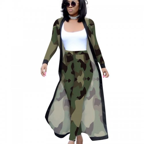 Camouflage Printed Female Sets Long Sleeves Jackets+Bodycon Leggings QQM3535
