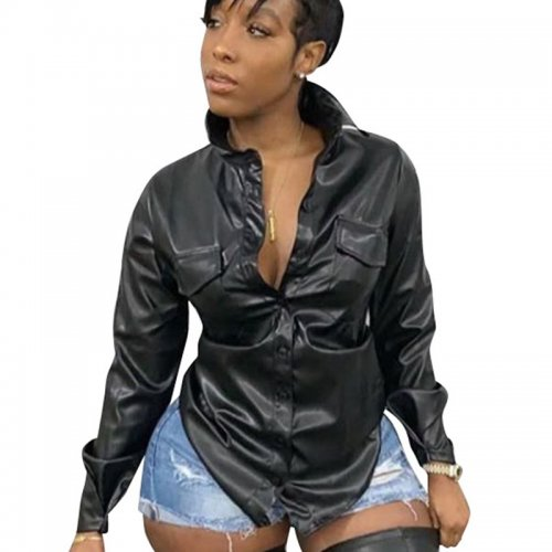 Black Leisure Imitation Leather Long Sleeve Shirt For Women ALS148