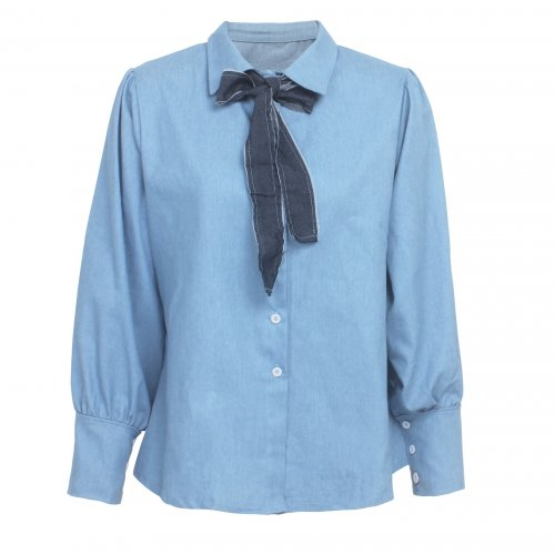 Office Ladies Fashion Autumn Long Sleeved Denim Tied Shirt SMR9497