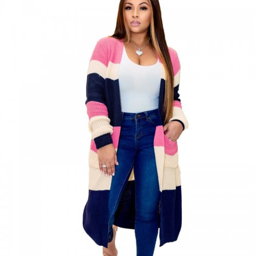 Pink Plaid Long Sleeves Cardigan Coat Below Knee Outer wear MA6286