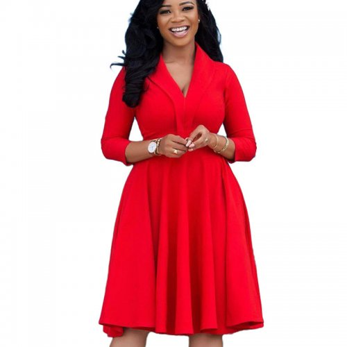 Red Sexy V Neck Ruffled Skirt Long Sleeve YX9175