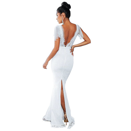 White Party Sexy SLace Splicing High Waist Deep V Collar Slim Maxi Dress ZS0240
