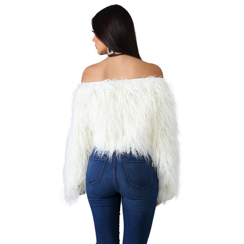 White Fashion Ladies Artificial Furs Off Shoulder Winter Short Top ZS0250