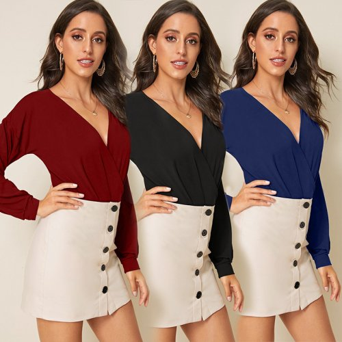 Wine Red Ladies Hot Sale 3 Colors Slim Fitting V Collar Bodysuit D019