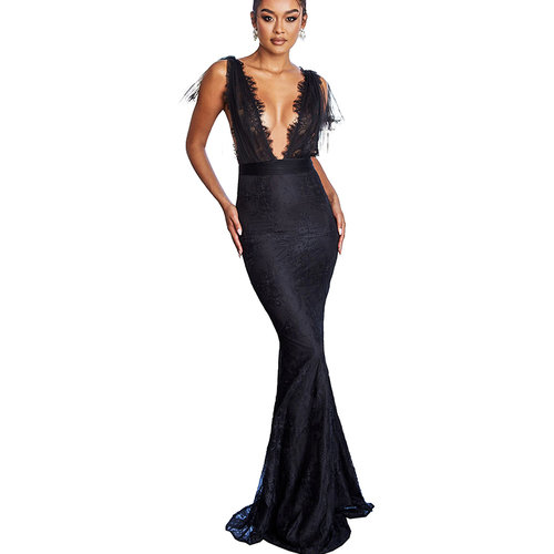 Black Party Sexy SLace Splicing High Waist Deep V Collar Slim Maxi Dress ZS0240