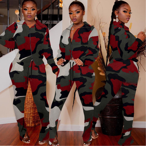 Burgundy Hot Sale Camouflage Women Outfits Zipper Coat Pencil Pants ALS151