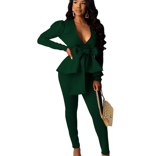 Blackish Green Female Plain Color Business Sets V Neck Ruffle Top Skinny Pants CM639