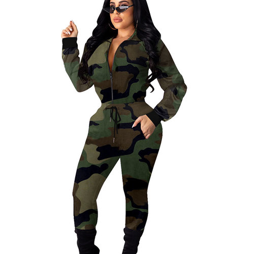 Army Green Hot Sale Camouflage Women Outfits Zipper Coat Pencil Pants ALS151