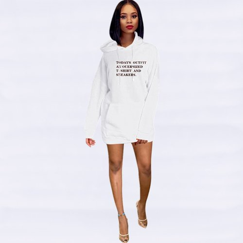 White Wholesale Price 3 Colors Ladies Casual Letters Hoodie Dress YMT6120