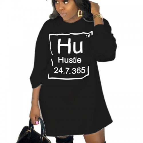 Black Autumn Winter Leisure Wear Ladies Letters T Shirt Dress LY5119