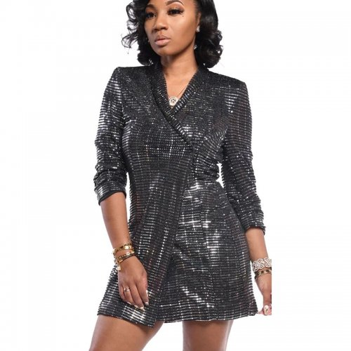 Silver Eye-Catching Solid Sequin One Button Slim Bodycon Long Coat TRS989