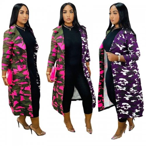 Amaranth Hot Sell Winter Women Camouflage Turn Down Collar Long Coat H1260