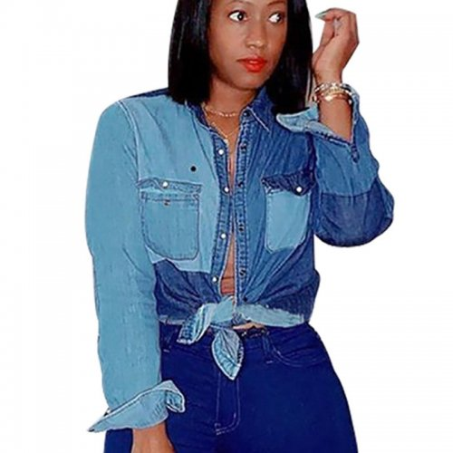 Explosion Models Button Down Denim Patchwork Ladies Shirts NK064