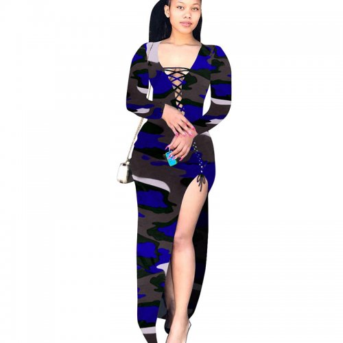 Blue Bandage Sexy High Split Multicolor Print Irregular Dress T3393
