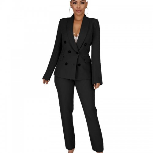 Black Elegant Business Outfits Double-Breasted Coat Slinky Pants QQM3899