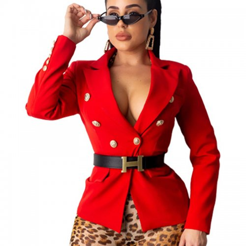 Red Button Deco Solid Color Slim Fitting Career Coat Without Belt ML7267