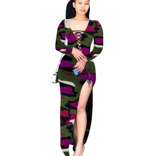 Purple Bandage Sexy High Split Multicolor Print Irregular Dress T3393