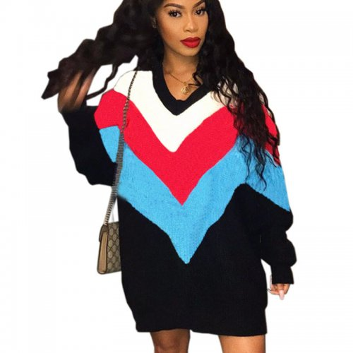 Red Blue Trendy Loose Color Block Long Sleeved Women Dress YT3193
