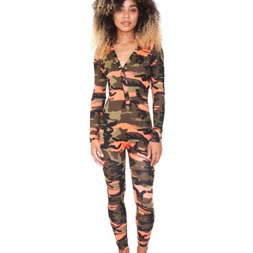 Orange Unique Button Camouflage V Collar Tight Jumpsuit For Sale WY6647