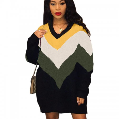 Yellow Green Trendy Loose Color Block Long Sleeved Women Dress YT3193