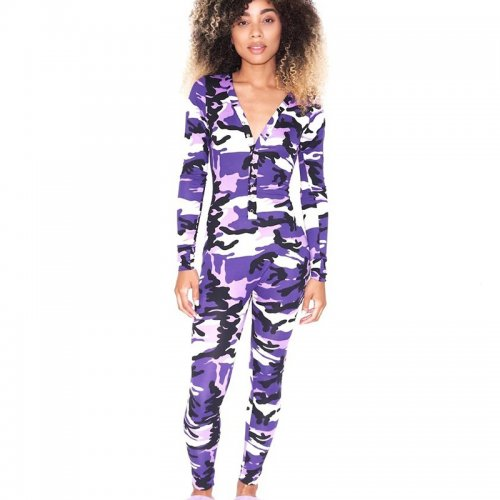 Purple Unique Button Camouflage V Collar Tight Jumpsuit For Sale WY6647