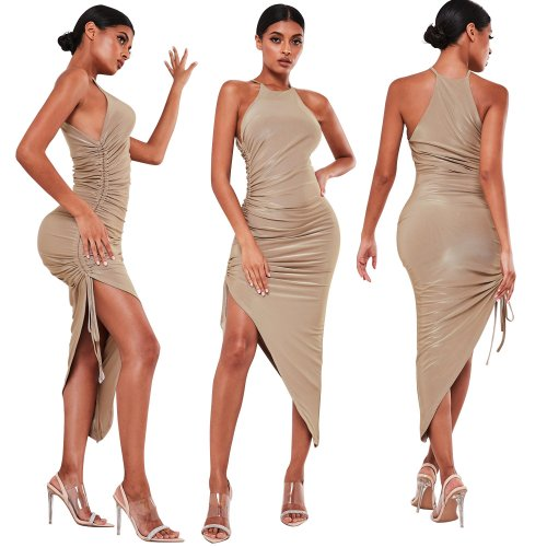 Gold Cheap Slim Irregular Pure Color Sleeveless Pleated Dress XZ3329