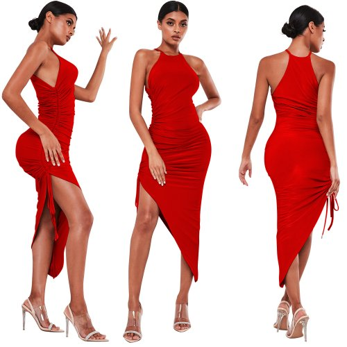 Red Cheap Slim Irregular Pure Color Sleeveless Pleated Dress XZ3329