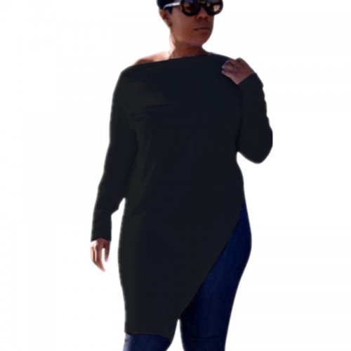 Black Leisure Zipper Deco Bodycon Pure Color Split Long T-Shirt HG5120