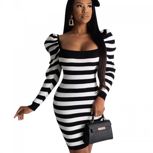 Black Striped Bodycon Long Sleeve Wrap Dress For Daily Wear BS1153