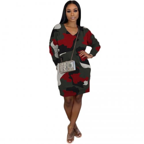 Red High Quality Camouflage V Neck Lantern Dress With Pockets BBN038
