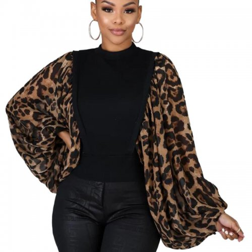 Black Unique Loose Sleeve Leopard Printed Splicing Women T Shirt HG5300