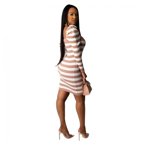 Apricot Striped Bodycon Long Sleeve Wrap Dress For Daily Wear BS1153