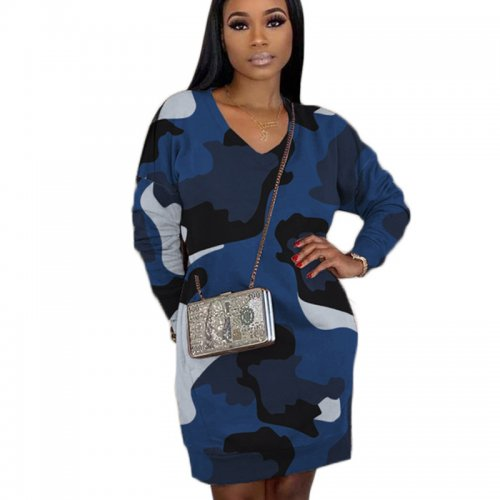 Blue High Quality Camouflage V Neck Lantern Dress With Pockets BBN038