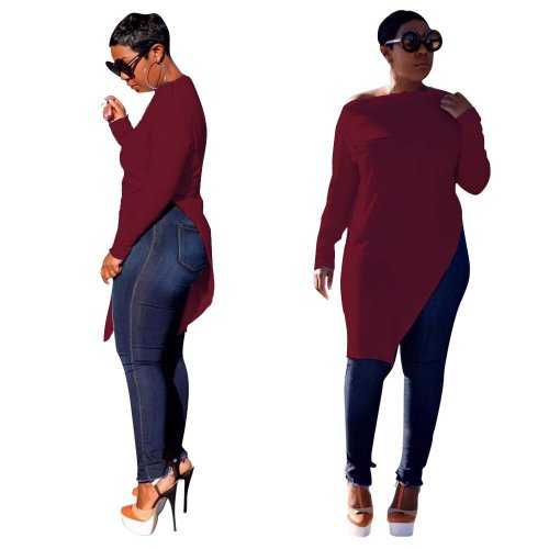 Wine Red Leisure Zipper Deco Bodycon Pure Color Split Long T-Shirt HG5120