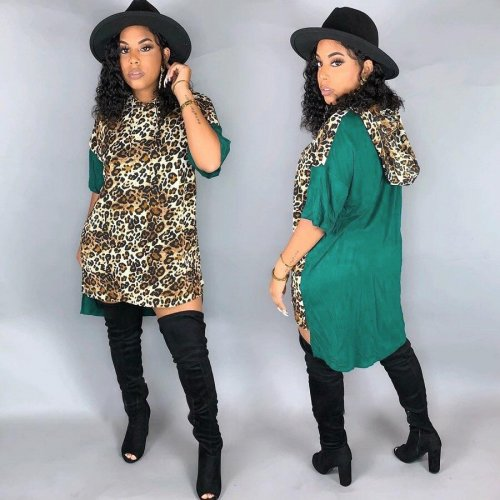 Leopard Pattern Print Green Short Sleeves Knee Length Mini T shirt dress DN8338