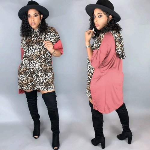 Leopard Pattern Print Pink Short Sleeves Knee Length Mini T shirt dress DN8338