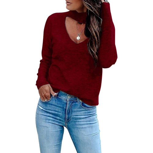 WIne Red Long SLeeve Mesh Front Mock Neck Blouse K058
