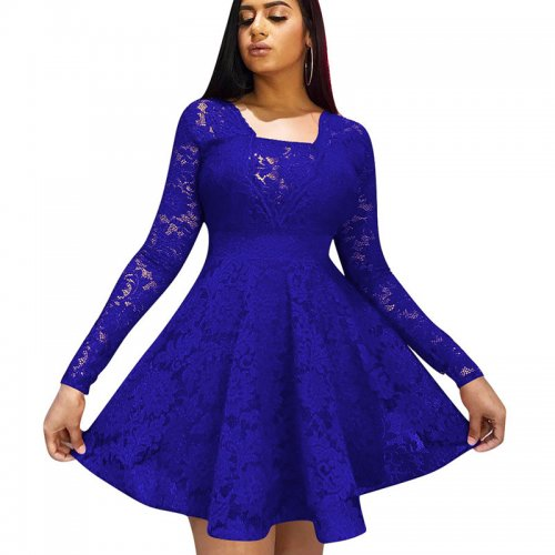 Blue Frill Trim Square Neck Long Sleeve Ladies Dress W8250