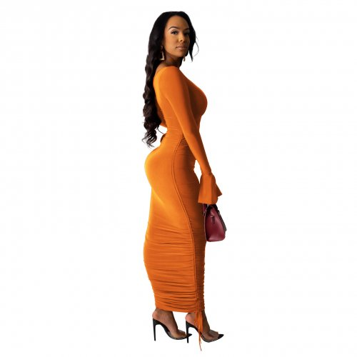 Orange Elegant Slim Pleated Solid Color Oblique Shoulder Long Dress SDD9207