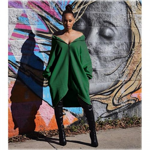 Trendy Loose Fitting Long Sleeve Solid Color Irregular Coats OMY8007