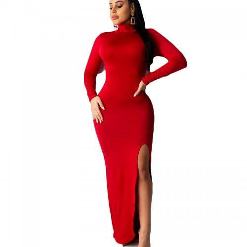 Red Newest Solid Color High Collar Split Long Dress For Daily Wear YSH6122
