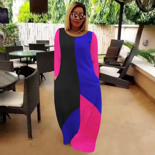 Ladies Colors Patchwork Round Neck Long Sleeves Loose Casual Club Dress