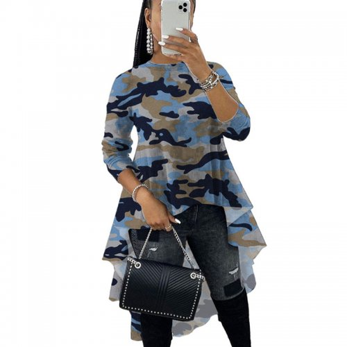 Camouflage Blue Lovely O Neck Casual Tops Irregular Printing Blouse X9219