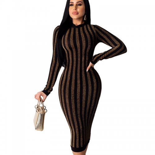 Gold Online Sale Slim Bodycon Stripe Women Dress For Wholesale QZ4092