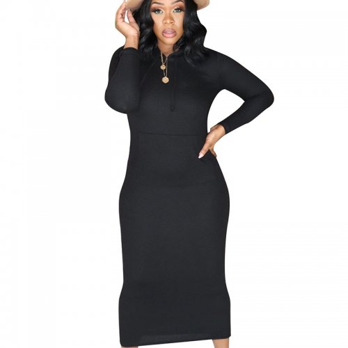 Black Warm Slim Bodycon Ribber Solid Color Hoodie Pencil Dress CM648