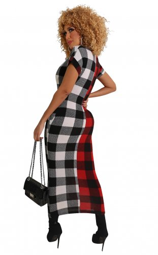 Red Leisure Short Sleeve Contrast Color Plaid Ankle Length Dress WMZ2526