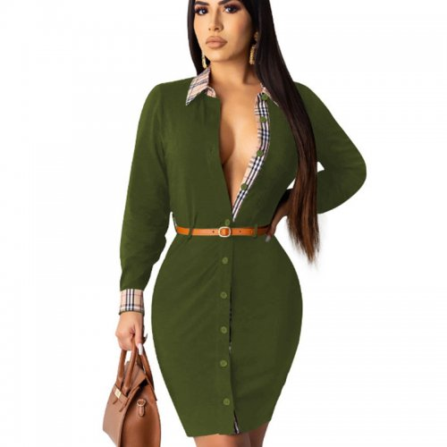 Green Office Ladies Casual Button Down Long Sleeved Elegant Dress QQM3910