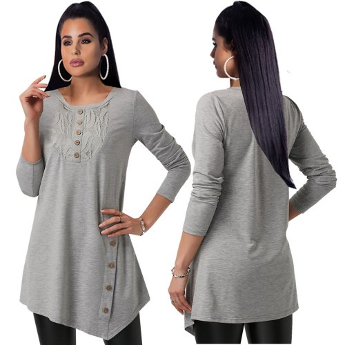 Gray Comfy Buttons Deco Women Long Sleeve T-Shirt For Daily Wear QQM3907