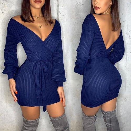 Backless Autumn Winter Ribbed Sexy V Neck Pencil Dress SH7159