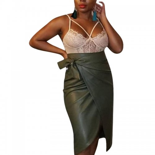 Blackish Green Women's PU Leather Asymmetric Straight Skirts Bottoms Business F8251